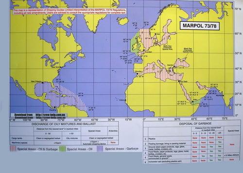 Карта с обозначенными особыми районами MARPOL 73/78